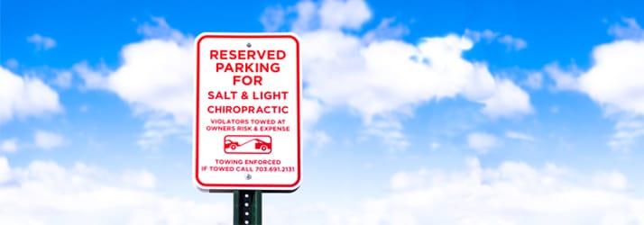 Contact Us Sign Salt & Light Chiropractic